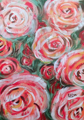 (CreativeWork) LET LIFE BE BEAUTIFUL LIKE BLOOMING ROSES by HSIN LIN. Acrylic. Shop online at Bluethumb.