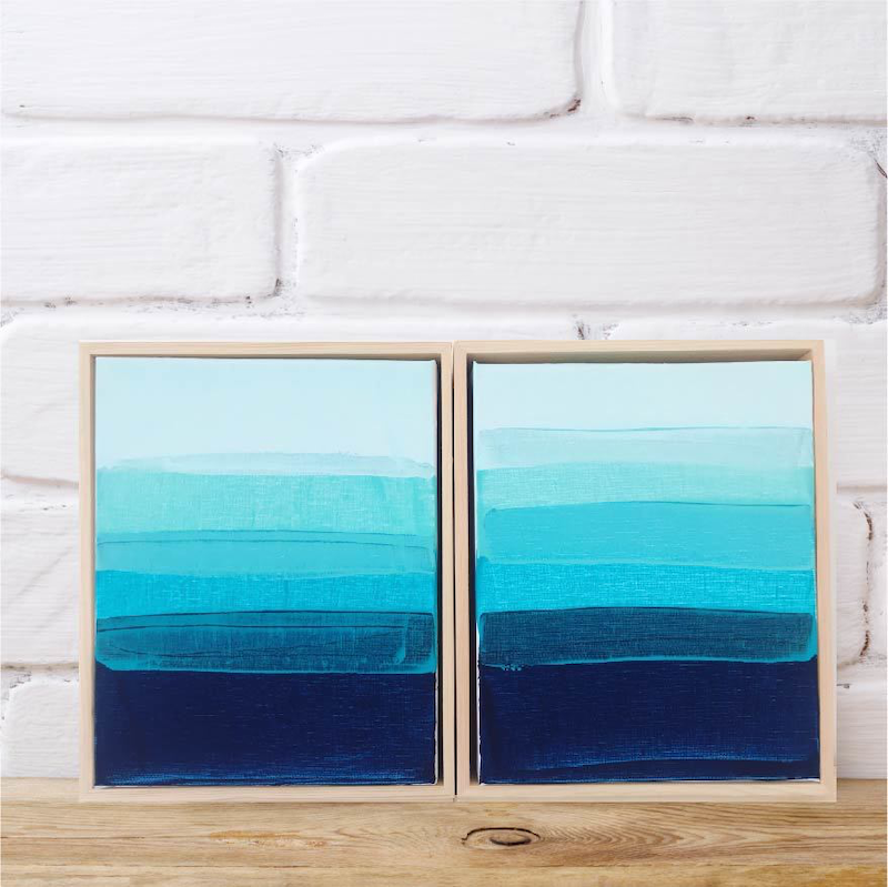 (CreativeWork) South Cronulla Sunset Diptych by Maggi McDonald. Acrylic Paint. Shop online at Bluethumb.
