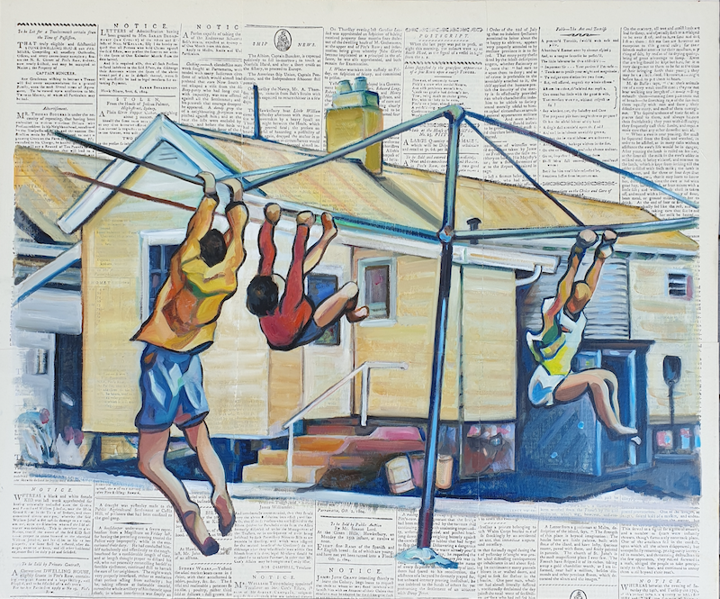 (CreativeWork) Hanging Out by Sherry McCourt. Oil Paint. Shop online at Bluethumb.