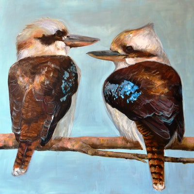 (CreativeWork) Two Kookas by Rebecca Hill. acrylic-painting. Shop online at Bluethumb.