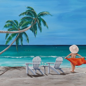 (CreativeWork) Meet me for sunset drinks. by Andrea Berry. acrylic-painting. Shop online at Bluethumb.