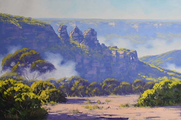 (CreativeWork) Rising mist Three Sisters, Katoomba by Graham Gercken. #<Filter:0x000055c841c122d0>. Shop online at Bluethumb.