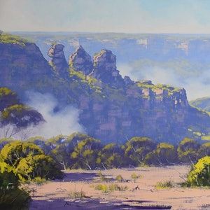 (CreativeWork) Rising mist Three Sisters, Katoomba by Graham Gercken. oil-painting. Shop online at Bluethumb.