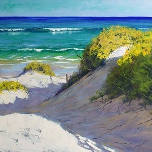 (CreativeWork) Central Coast Dunes, nsw by Graham Gercken. oil-painting. Shop online at Bluethumb.