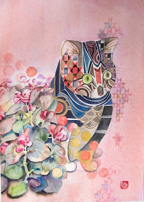 (CreativeWork) Begonia and Cat by Ikuko Maddox. Watercolour Paint. Shop online at Bluethumb.