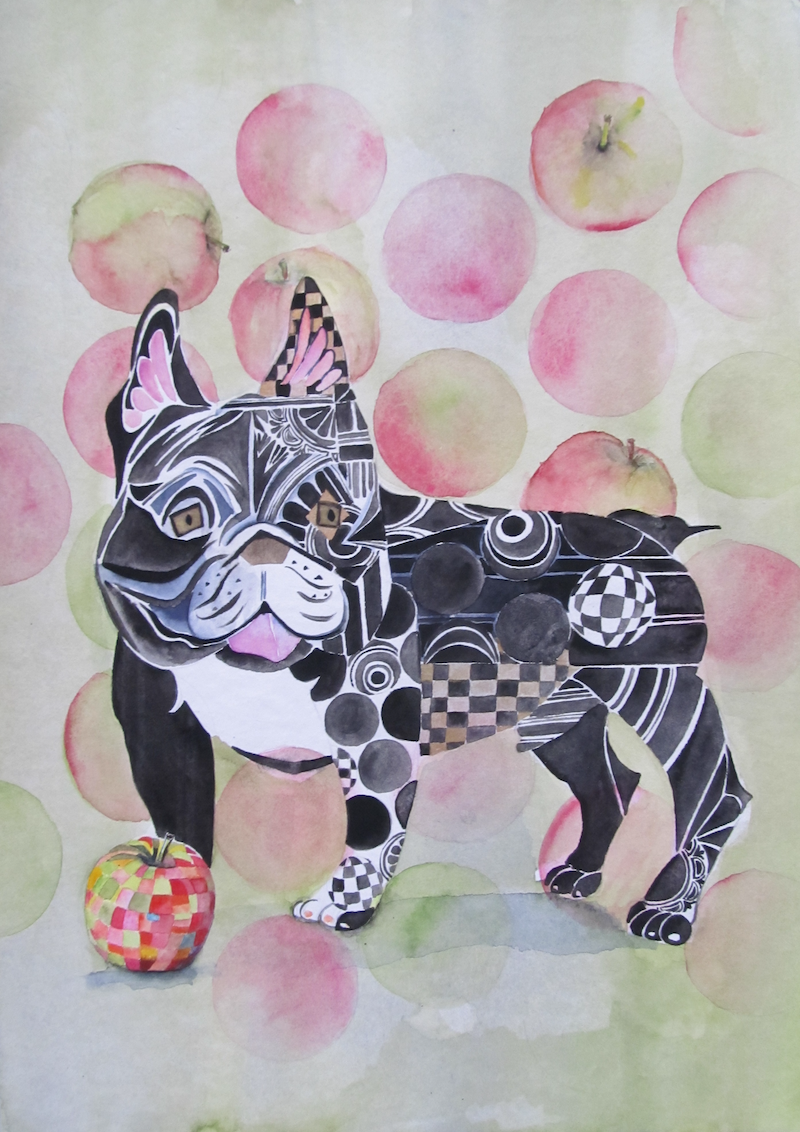 (CreativeWork) Can Dogs Eat Apples? by Ikuko Maddox. Watercolour Paint. Shop online at Bluethumb.