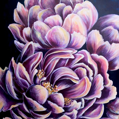 (CreativeWork) Go Floral by Mirsai _18. acrylic-painting. Shop online at Bluethumb.