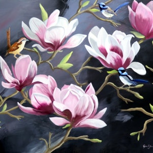 (CreativeWork) Birds in Magnolias by Carol Stewart. #<Filter:0x00007fc1e8fb4990>. Shop online at Bluethumb.