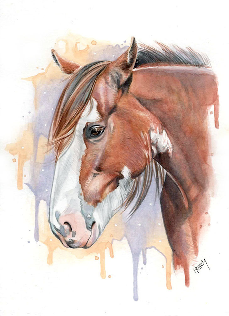 (CreativeWork) Clydesdale by Holley Ryan. watercolour. Shop online at Bluethumb.