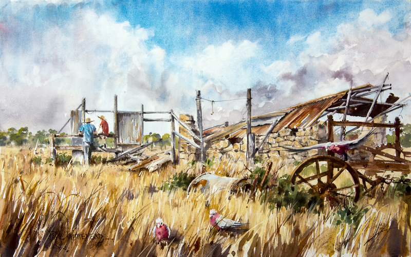 (CreativeWork) The Chat by Paul Whitehead. Watercolour Paint. Shop online at Bluethumb.