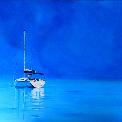 (CreativeWork) Calm Waters - Yacht by Julie Hollis. acrylic-painting. Shop online at Bluethumb.