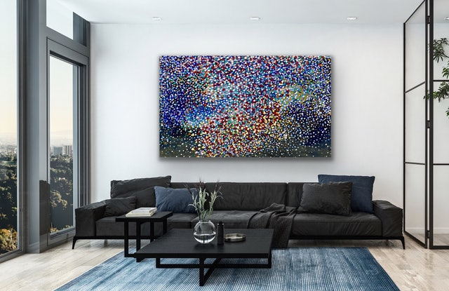 (CreativeWork) Diamonds in the sky by Theo Papathomas. Acrylic Paint. Shop online at Bluethumb.