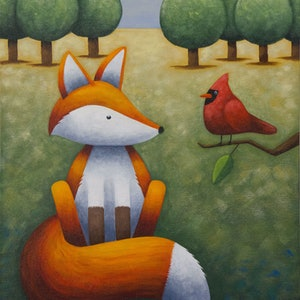 (CreativeWork) Frankie and the Cardinal by Kate Graham. acrylic-painting. Shop online at Bluethumb.
