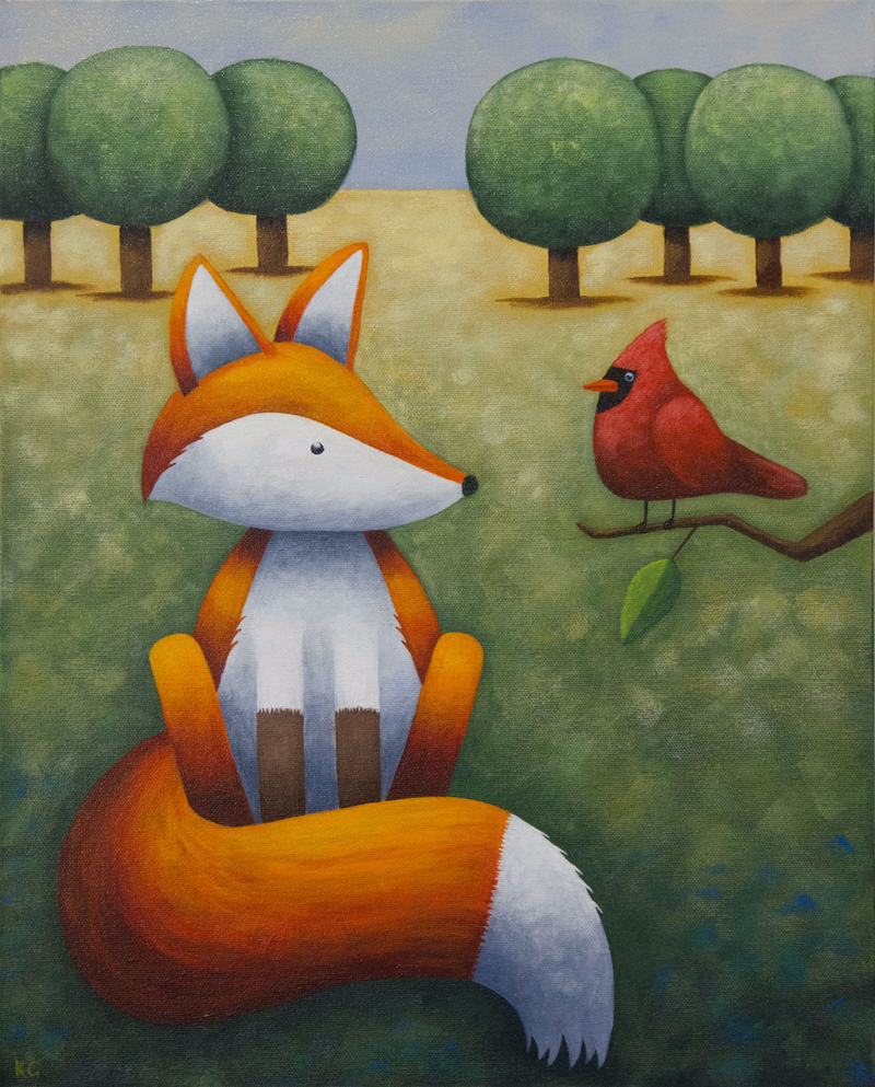 (CreativeWork) Frankie and the Cardinal by Kate Graham. Acrylic Paint. Shop online at Bluethumb.