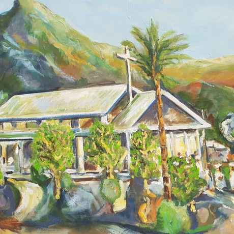 (CreativeWork) Evening Church Service South Pacific. by Graham Borough. Oil Paint. Shop online at Bluethumb.