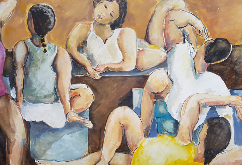 (CreativeWork) Warming Up. The Yoga Class by Graham Borough. oil-painting. Shop online at Bluethumb.