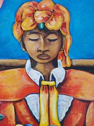 (CreativeWork) Meditation by Graham Borough. Oil Paint. Shop online at Bluethumb.