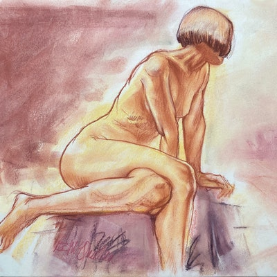 (CreativeWork) 'Seated female Nude' by Roz McQuillan. Drawings. Shop online at Bluethumb.