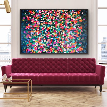 (CreativeWork) Butterfly 152x102 framed large abstract by Sophie Lawrence. Acrylic Paint. Shop online at Bluethumb.