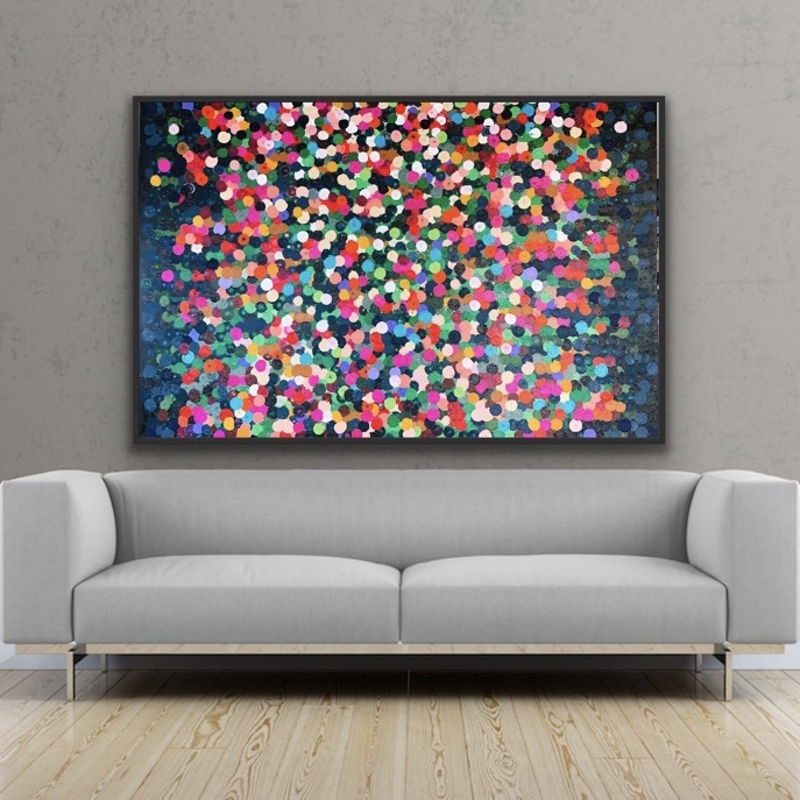 (CreativeWork) Butterfly 152x102 framed large abstract by Sophie Lawrence. acrylic-painting. Shop online at Bluethumb.