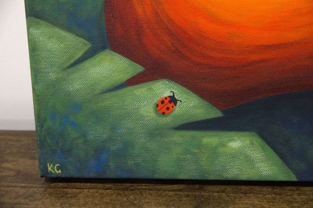 (CreativeWork) Frankie and the Ladybugs by Kate Graham. Acrylic Paint. Shop online at Bluethumb.