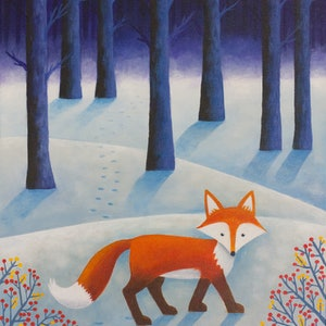 (CreativeWork) Frankie in the Snow by Kate Graham. acrylic-painting. Shop online at Bluethumb.