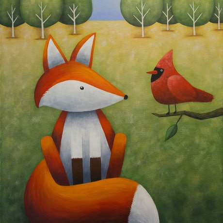 (CreativeWork) Frankie and the Cardinal II by Kate Graham. Acrylic Paint. Shop online at Bluethumb.