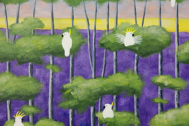 (CreativeWork) Purple Birch and Birds by Kate Graham. Acrylic Paint. Shop online at Bluethumb.