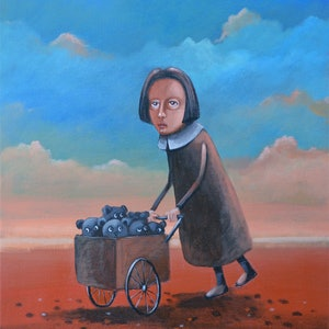 (CreativeWork) Toy Seller by Max Horst  Sokolowski. acrylic-painting. Shop online at Bluethumb.