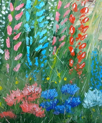 (CreativeWork) Flowerbed, oil palette work.  by owen jones. Oil Paint. Shop online at Bluethumb.