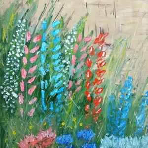 (CreativeWork) Flowerbed, oil palette work.  by owen jones. oil-painting. Shop online at Bluethumb.