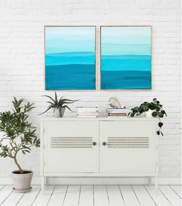 (CreativeWork) Gunnamutta Bay Diptych by Maggi McDonald. Acrylic Paint. Shop online at Bluethumb.