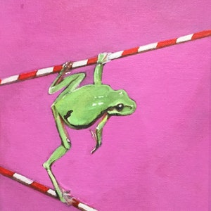 (CreativeWork) Green Frog on Poles by Ross Morgan. #<Filter:0x00007fa52dc7cf20>. Shop online at Bluethumb.