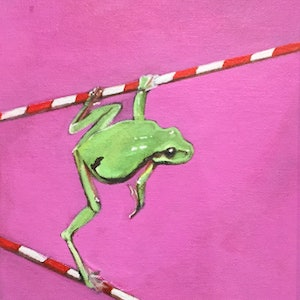 (CreativeWork) Green Frog on Poles by Ross Morgan. #<Filter:0x00007f26c4e3c988>. Shop online at Bluethumb.