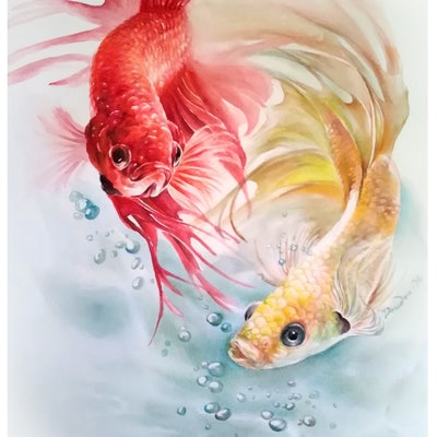 (CreativeWork) THE BATTLE by Doudou Huang. watercolour. Shop online at Bluethumb.