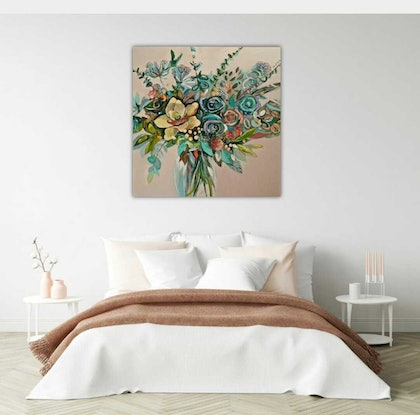 (CreativeWork) Abstract Floral Art -  Flowers on Pink  by Susan Trudinger. Acrylic Paint. Shop online at Bluethumb.