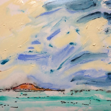 (CreativeWork) Tiny Island by Ron Holden. Acrylic Paint. Shop online at Bluethumb.