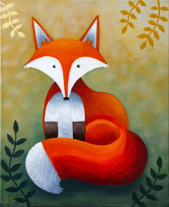 (CreativeWork) Frankie the Fox by Kate Graham. Acrylic Paint. Shop online at Bluethumb.