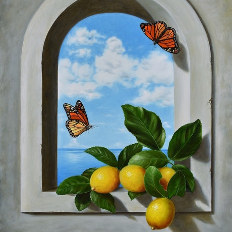 (CreativeWork) Lemons on Arch Window - Still life by Natasha Junmanee. Oil Paint. Shop online at Bluethumb.