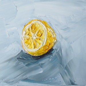 (CreativeWork) lemon Solo by Michelle Keighley. oil-painting. Shop online at Bluethumb.