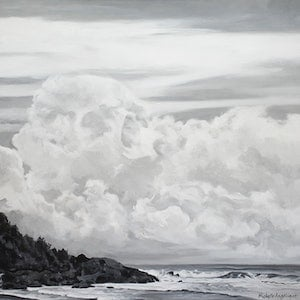 (CreativeWork) Something chilling in the clouds (Flynns Beach, Port Macquarie, NSW) by Michelle Angelique. acrylic-painting. Shop online at Bluethumb.