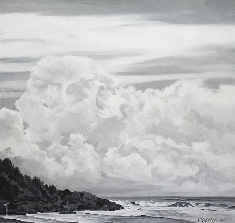 (CreativeWork) Something chilling in the clouds (Flynns Beach, Port Macquarie, NSW) by Michelle Angelique. Acrylic Paint. Shop online at Bluethumb.