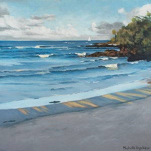 (CreativeWork) Afternoon waves (Port Macquarie, NSW) by Michelle Angelique. acrylic-painting. Shop online at Bluethumb.
