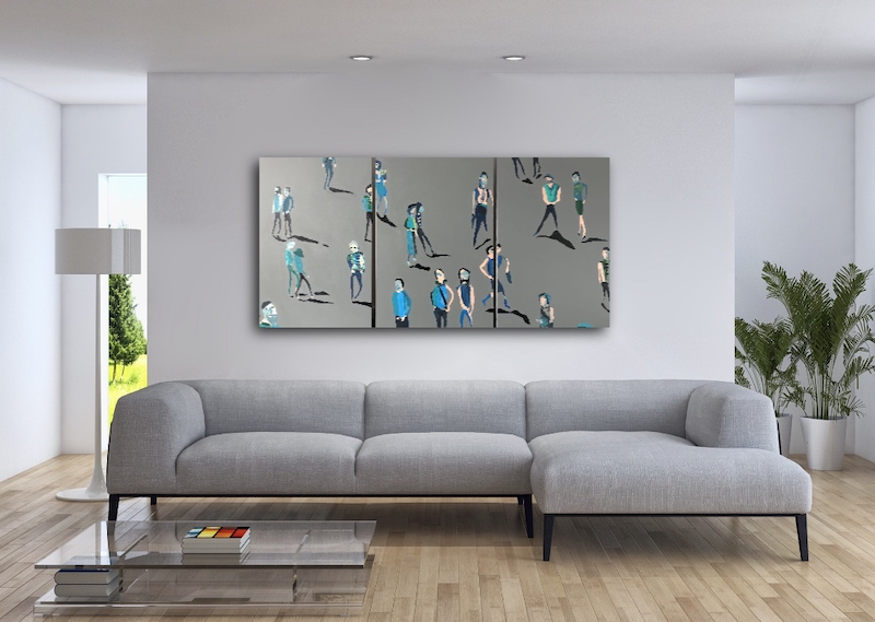 (CreativeWork) Together Apart Together (Tryptich) by Sharon Monagle. acrylic-painting. Shop online at Bluethumb.