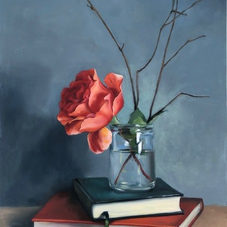 (CreativeWork) Rose with books still life by maria radun. Oil Paint. Shop online at Bluethumb.