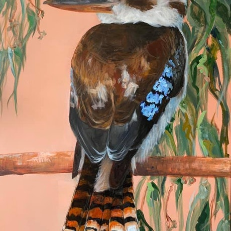 (CreativeWork) Kookaburra - Flora and Fauna Series by Rebecca Hill. Acrylic Paint. Shop online at Bluethumb.