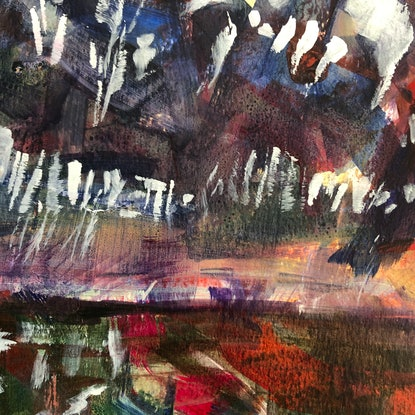 (CreativeWork) Behind The Island by Kate Gradwell. Acrylic Paint. Shop online at Bluethumb.