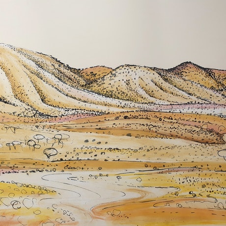(CreativeWork) The hills behind the shack by Suzannah Jones. Drawings. Shop online at Bluethumb.