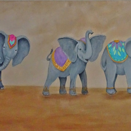 (CreativeWork) Elephant Parade by Julie-Anne Gatehouse. Acrylic Paint. Shop online at Bluethumb.