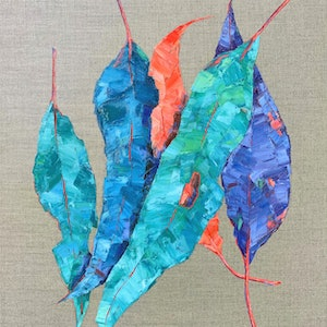 (CreativeWork) Luminescence  - Gum Leaves - Oil Painting on Linen by Eve Sellars. #<Filter:0x00007f26c4777530>. Shop online at Bluethumb.